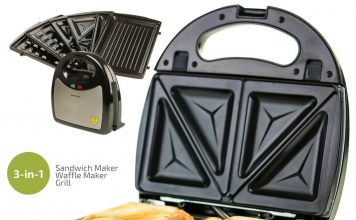 Ovente 3-in-1 Electric Sandwich Maker with Detachable Non-Stick Waffle and Grill Plates