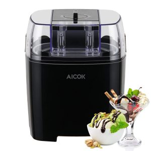 Aicok 1.5 Quart Ice Cream Maker Machine Frozen Yogurt and Sorbet Maker with Timer Function, Black