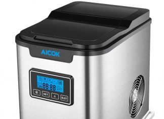 Aicok Portable Ice Maker, Ice Cubes ready in 6 Minutes, Counter Top Ice Maker Machine with Ice Scoop and 2 Quart Water Tank, Timer Program, LED Display, Make Over 26 lbs per 24 hours, Stainless Steel