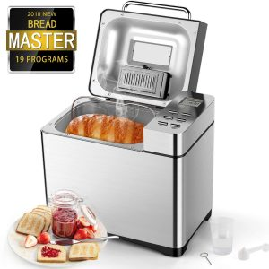 Automatic Bread Maker[2018 Upgraded], Aicok 2.2LB Fully Stainless Steel Bread Machine with Dispenser