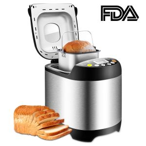 Breadmaker Stainless Steel Automatic Bread Machine Programmable Bread Maker Machine with 15 Hours Delay Time and 19 Digital LCD Display (Black001)