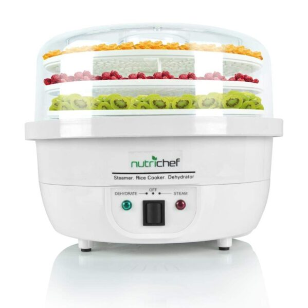 NutriChef Food Dehydrator Machine and Professional Electric Steamer, Cooker, Meat Preserver, Beef Jerky Maker, Fruit Dryer, Steams Rice and Vegetables with Stackable Trays in White - (PKFDSRC10WT)