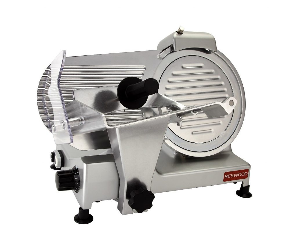 "BESWOOD 10"" Premium Chromium-plated Carbon Steel Blade Electric Deli Meat Cheese Food Slicer"