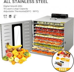 Commercial Stainless-Steel Food Dehydrator by VVinRC Store