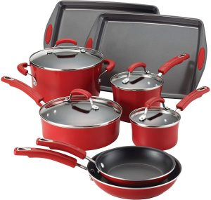 Rachael Ray Classic Brights Porcelain 12-Piece Cookware Set